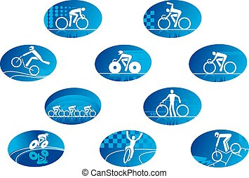 Blue cycling sport icons with reflection