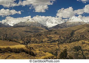 Cordillera Negra in Peru - Panoramic view of sunlit slopes...