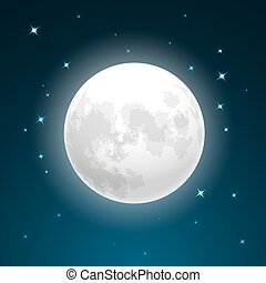 Full moon and stars - Vector Illustration of full moon close...