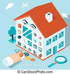 Vector 3d smart home concept House control button - Vector...
