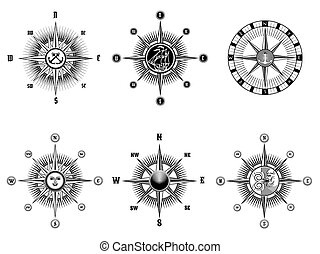 Vintage nautical or marine compass icons - Set of vintage...