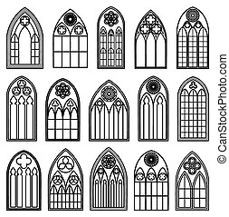 Gothic Window Silhouettes - Set of design gothic window...