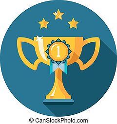 Gold winner trophy cup flat icon - The first place trophy....
