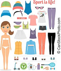 Cartoon Girl with Fitness Clothing and Equipment - Cute...