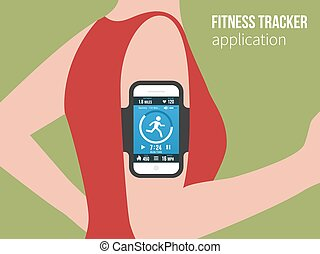 Sports or fitness tracking app for running people - Running...