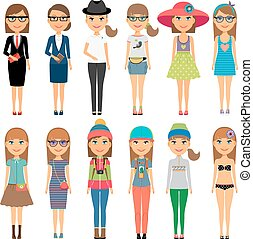 Cutie cartoon fashion girls in colorful clothes - Girl...