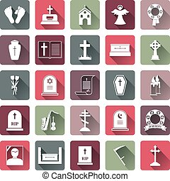 Colored Funeral Icon Set - Assorted Colored Funeral Icon Set...