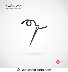 Needle and thread icon or logo for business, company or...