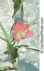 Illustration of flowers red tulip - Vector vertical mosaic...