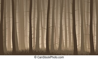 Misty coniferous forest. - Vector horizontal illustration of...