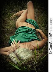 Beautiful sexy topless woman - Beautiful blonde nestled...