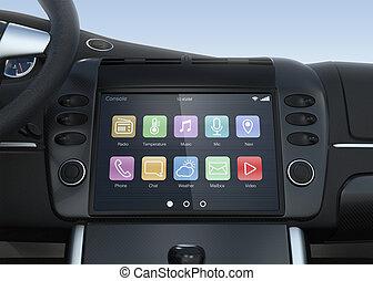 mądry, multimedia, system, dla, Wóz,