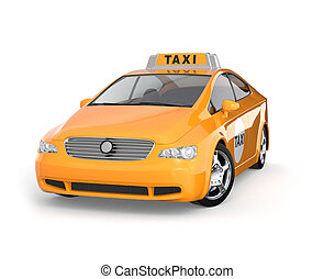 Yellow taxi isolated on white background.