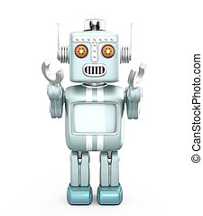 Cute vintage robot raising his hands and look forward...