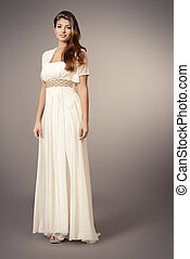 light dress - Full length portrait of a charming beautiful...