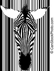 Zebra barcode Face - Muzzle zebra as a barcode from the...