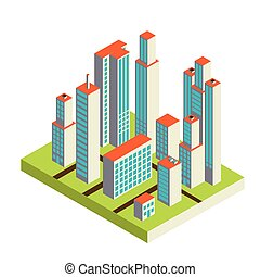 Vector isometric city center on the map with lots of...