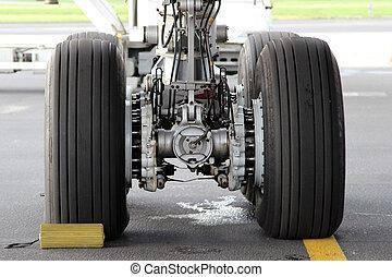 Landing gear - Close-up photo of aircraft main landing gear