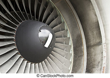 Jet engine in modern airplane - Close-up of a turbofan jet...