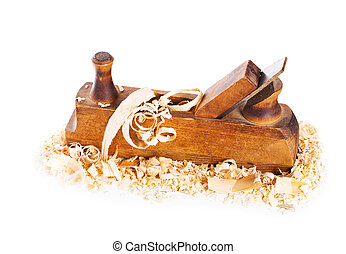 old wooden plane on white background
