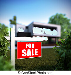 Home For Sale sign in front of modern house. - A 3D...
