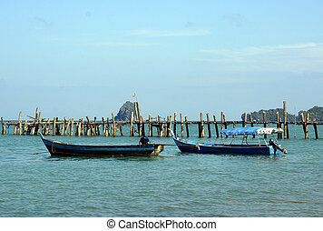 Old fishing boats are coast of Malaysia, Langkawi. - Old...