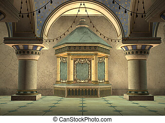 3d Illustration Oriental Palace - 3D digital render of a...