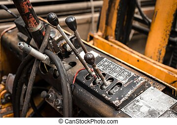 COnstruction machine interior - Dirty rusry construction...