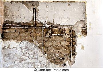 Damaged wall plumbing