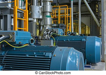 Electric Industrial generator inside power plant closeup