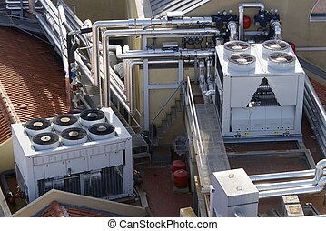 Air conditioning - View of a huge group of air conditioning...