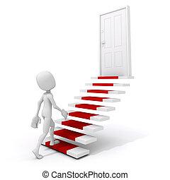 3d man climbing on a stair to success