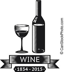 Wine Alcohol Drink Logo Symbol Bottle Glass ribbons Icon...