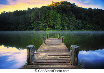 Wooded bridge over the river in Pang ung park, Mae hong son...