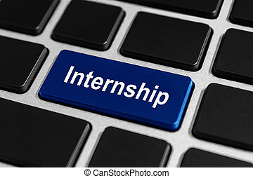internship button on keyboard - internship blue button on...