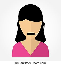 employee call center girl with headphones