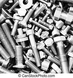 bolts  in box - Set of bolts  in box close up