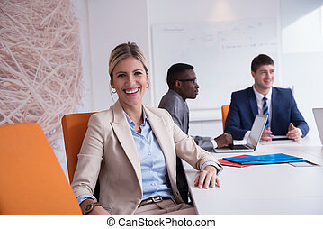 business woman at office - business woman with her staff,...