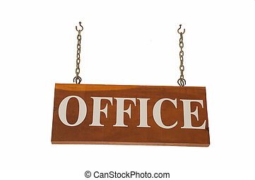 Office sign on a white background