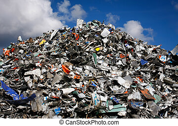 Waste mountain - Pile of waste for recycling or safe...