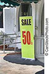 Sale Display - Green sale display banner up to 50 percent in...