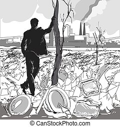 Chimney Pollution - Illustration of a man standing near a...