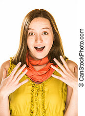 Surprise Expression - Pretty girl with an expression of...
