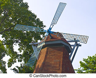 Traditional Windmill - Blue tradinional rustic windmill with...