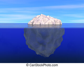 Iceberg above and below the level of ocean - Illustration of...
