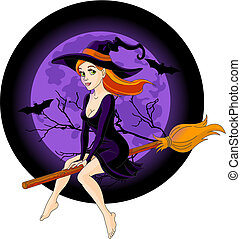Witch riding a broom - Sexy witch riding a broom with a...