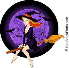 sorcière, équitation, balai