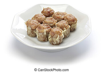 shu mai, shao mai, chinese dim sum dish isolated on white...