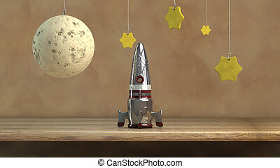 spacecraft and stars - illustration of a spaceship toy with...