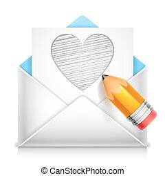 Love Letter - Love letter with heart symbol on white...